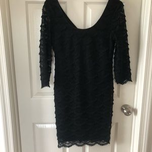 Roonie Nicole black fringe dress 8